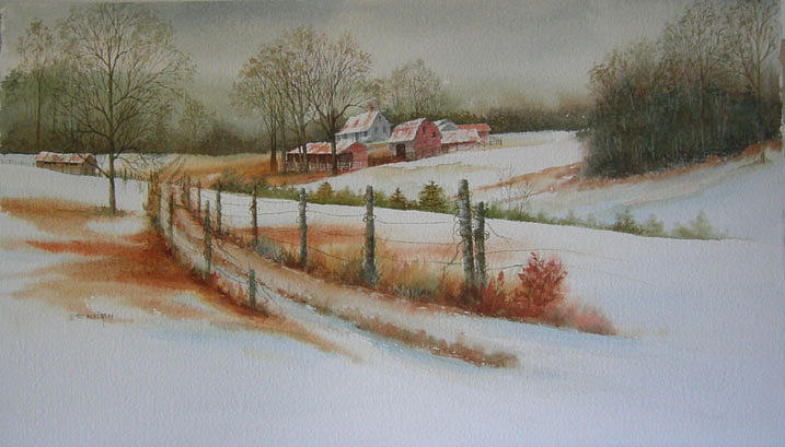Landscape Painting - Cane Hollow Farm by Pat Aube Gray