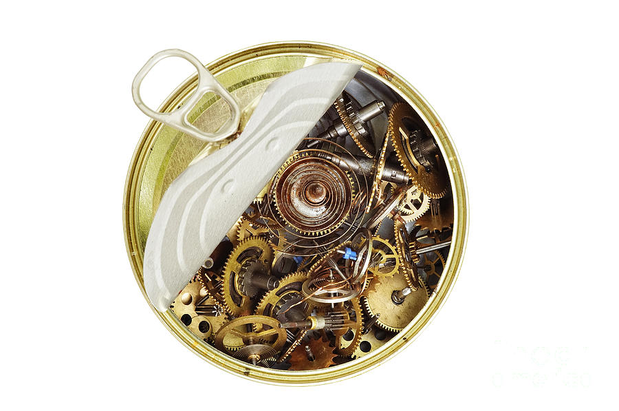 Clockwork Photograph - Canned Time - Parts Of Clockwork Mechanism In The Can by Michal Boubin