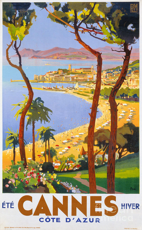Cannes Painting - Cannes Vintage Travel Poster by Vintage Treasure