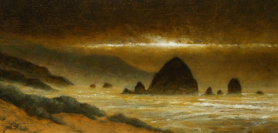 Quiet Painting - Cannon Beach Evening by Jim Gola