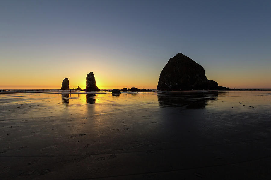 Cannon Photograph - Cannon Beach Low Tide Sunset by David Gn