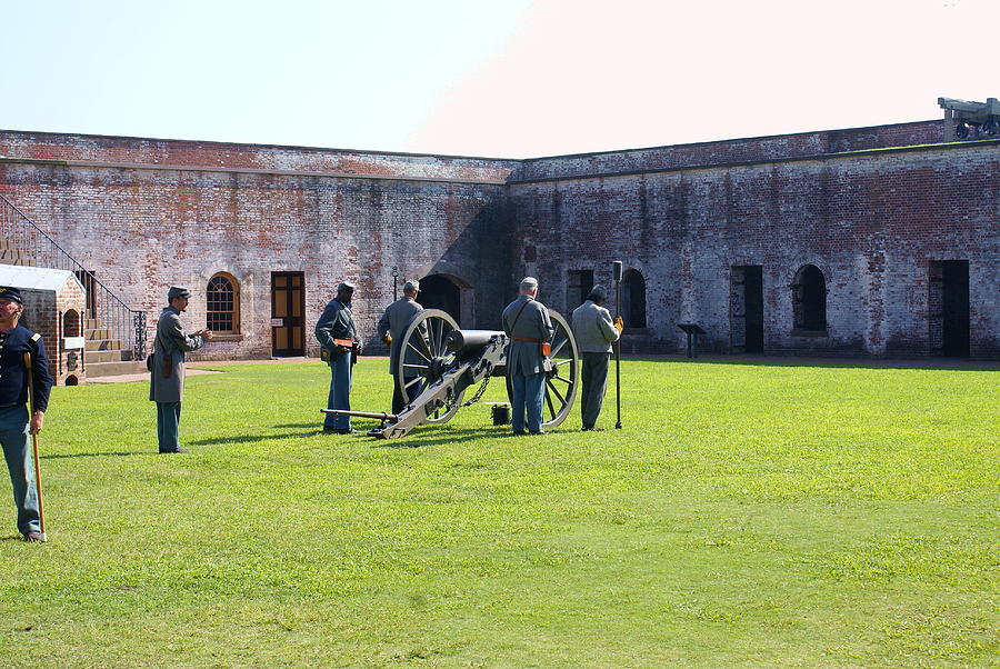 Civil War Photograph - Cannon Excercise by Rodger Whitney