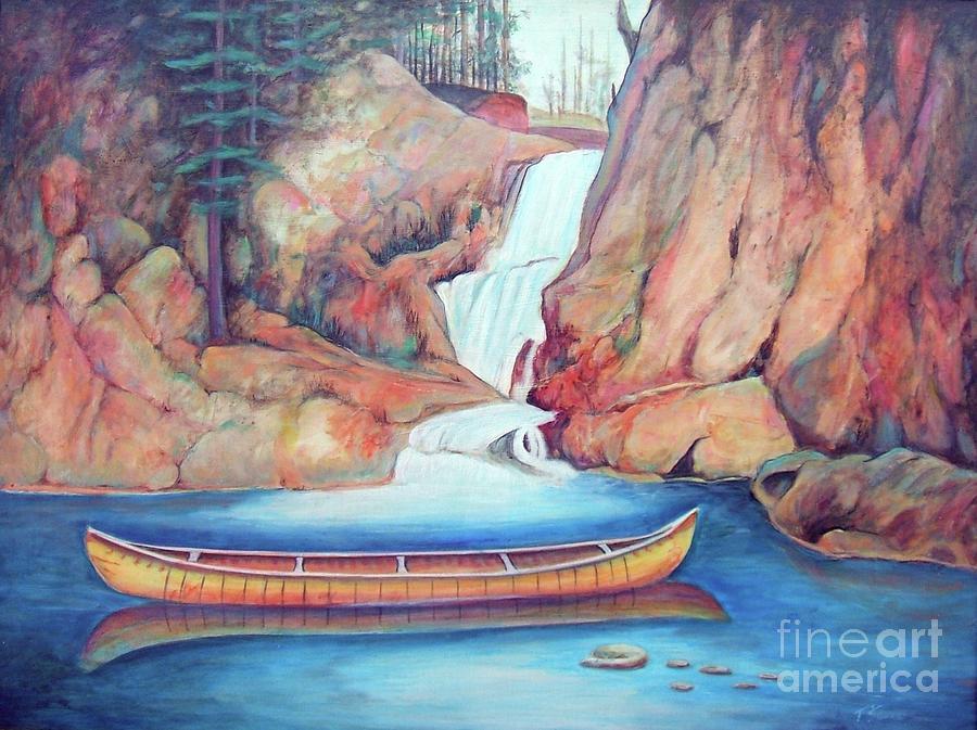 Canoe Painting - Canoe And Waterfall by Pete  TSouvas