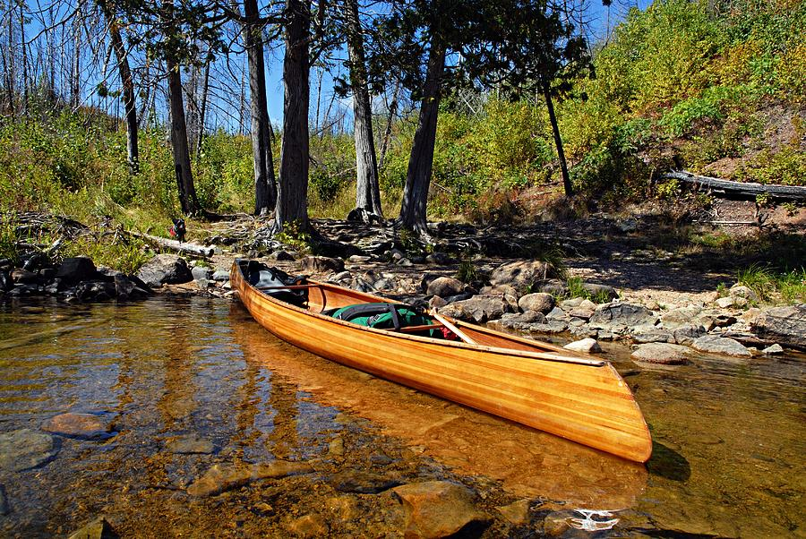Boundary Waters Canoe Area Wilderness Photograph - Canoe At Portage Landing by Larry Ricker