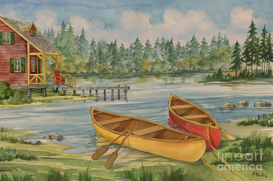 Canoe Painting - Canoe Camp with Cabin by Paul Brent