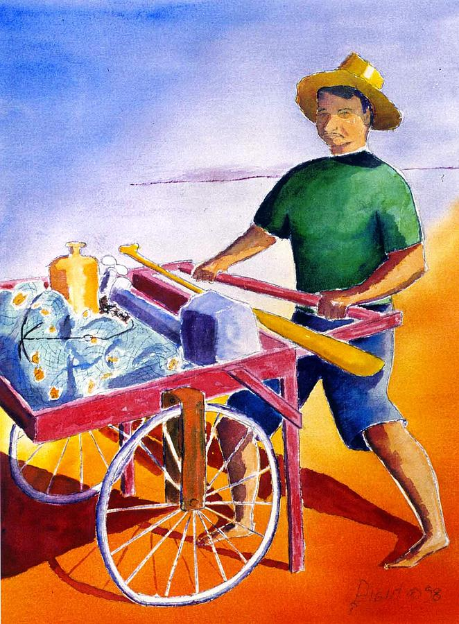 Fisherman Painting - Canoe Fisherman With Cart by Buster Dight