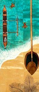 Ocean Canoe Print - Canoe Hoe by Kealoha  Pa