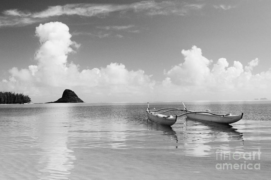 Aku Photograph - Canoe Landscape - Bw by Joss - Printscapes