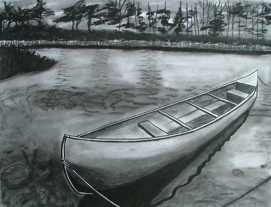 Canoe On Pond Drawing By Lee Davies