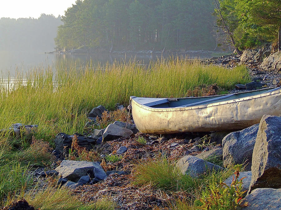Maine Photograph - Canoe On The Rocks by Brian Pflanz