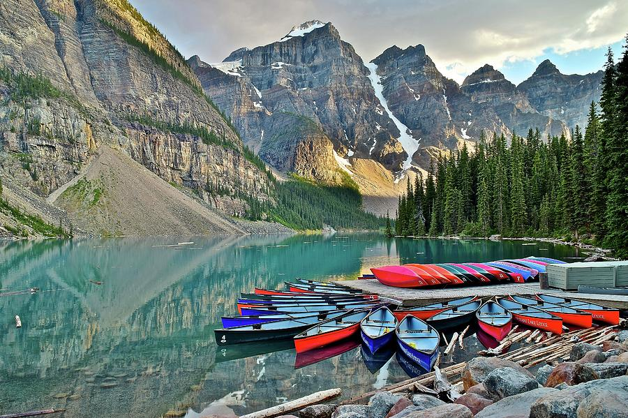 Moraine Photograph - Canoe Paradise by Frozen in Time Fine Art Photography