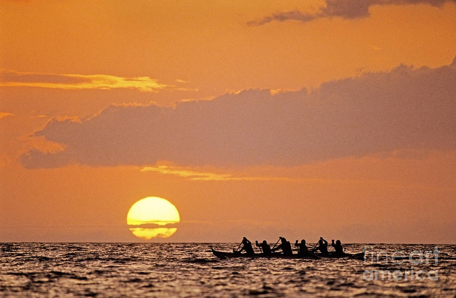 Bright Photograph - Canoeing At Sunset by Greg Vaughn - Printscapes