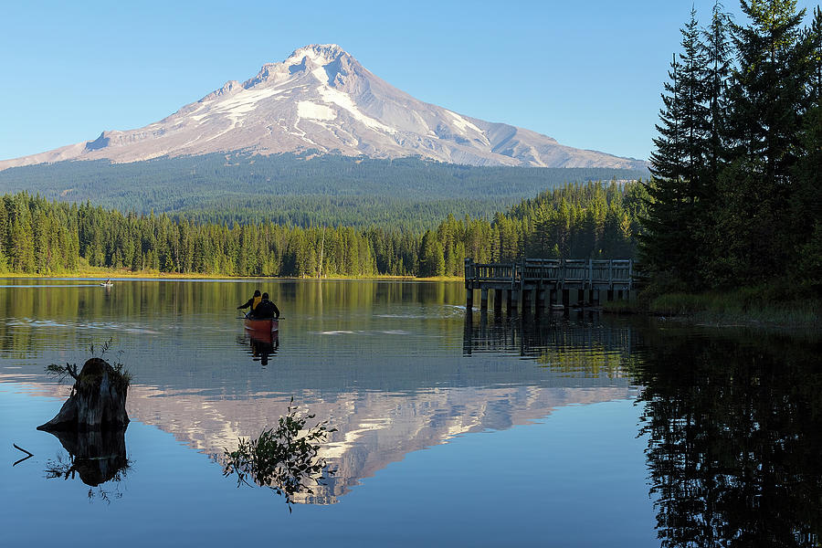 Canoe Photograph - Canoeing at Trillium Lake by David Gn