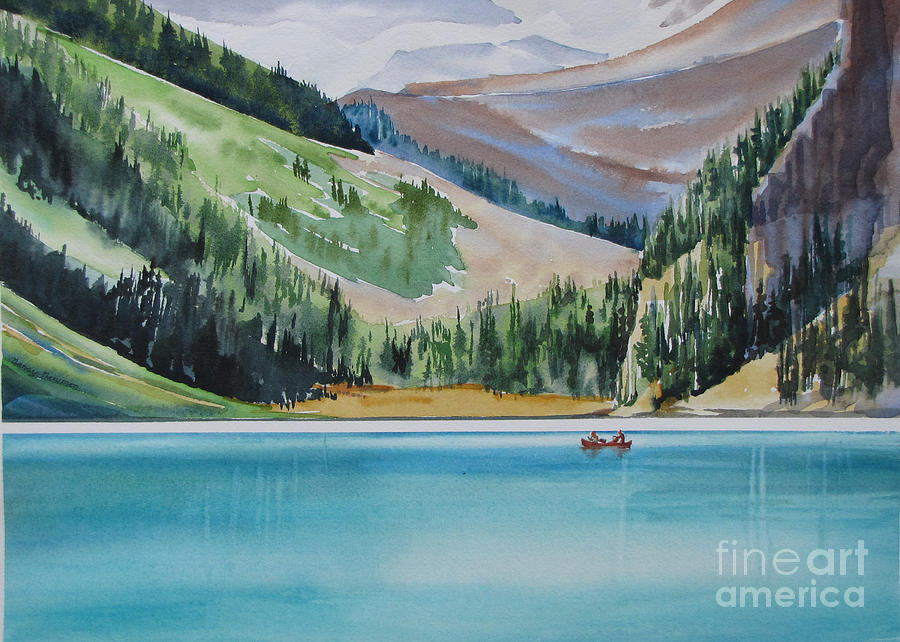 Canoe Painting - Canoeing-in-lake-louise by Nancy Newman