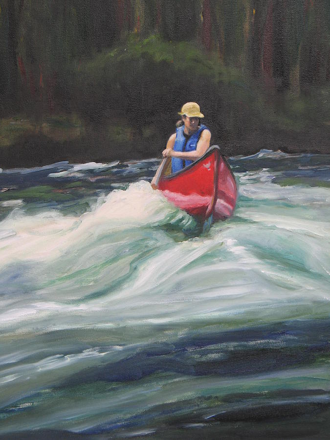Canoeist Painting - Canoeing On The French River by Moira Dedrick