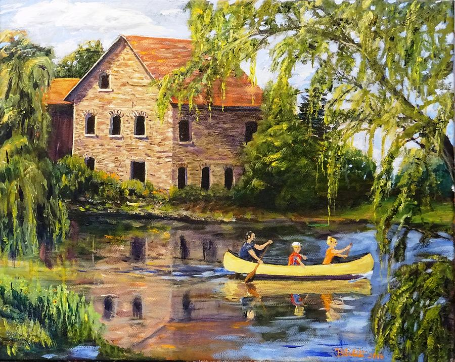 Canoeing Past The Mill by BRENT ARLITT