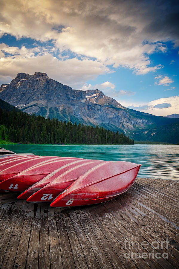 Canoes at Emerald Lake in Yoho National Park by Bryan Mullennix