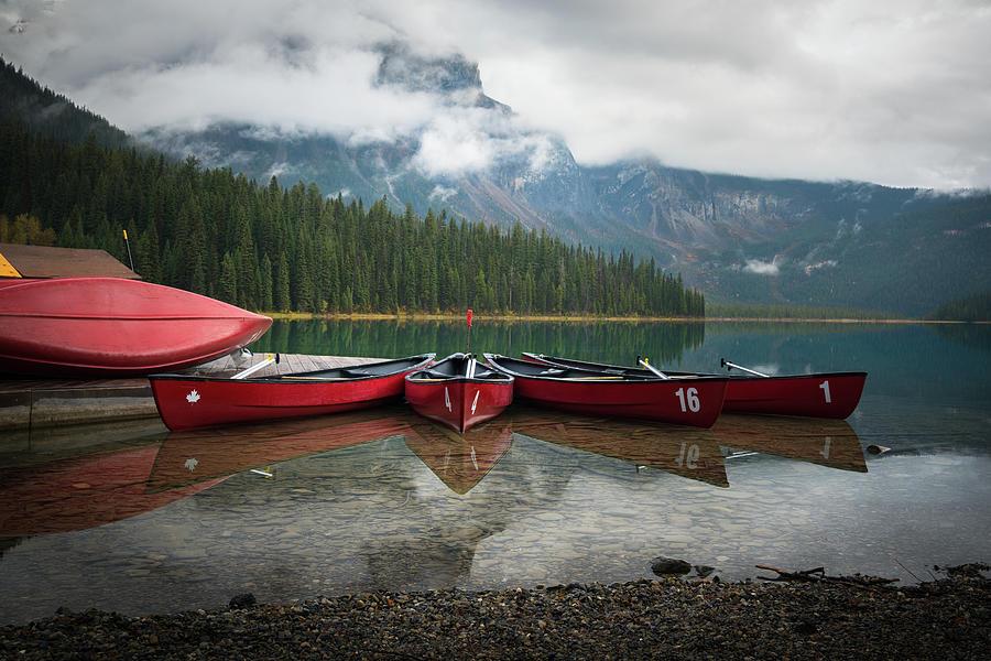 Canoes At Emerald Lake Photograph