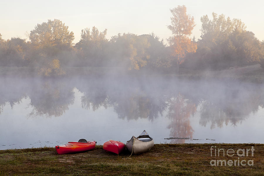 Three Photograph - Canoes By A Foggy Lake In Autumn by Sharon Foelz