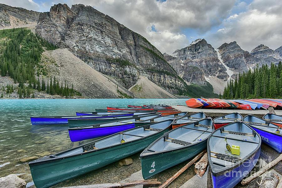 Canoes On Moraine Lake Photograph