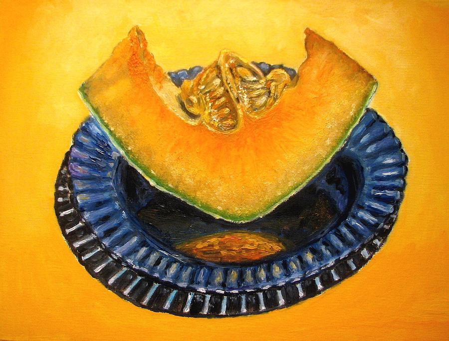 Cantaloupe Painting - Cantaloupe Oil Painting by Natalja Picugina