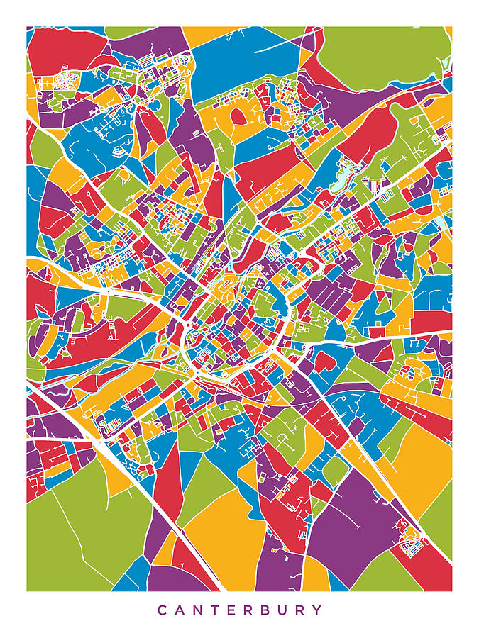 City Map Of England.Canterbury England City Map By Michael Tompsett