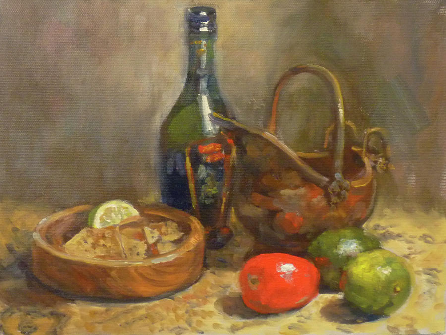 Mexican Cantina Painting - Cantina Table by Nora Sallows