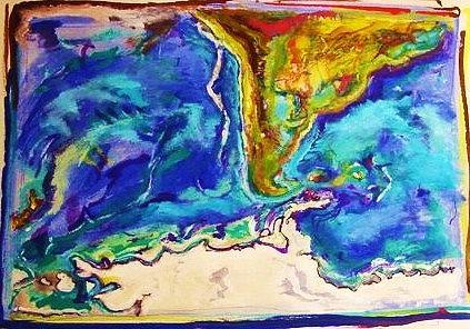 Maps Painting - Cantinho by Nila  Poduschco