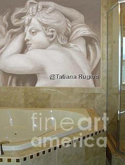 Grissaile Painting - Canvas Mural For Master Bathroom by Tatiana Rugers