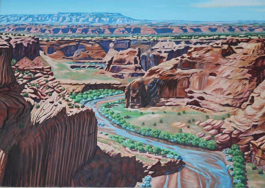 Oil Painting - Canyon De Chelly  by Allen Kerns
