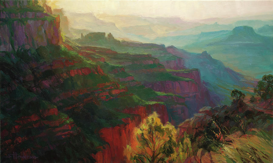 Canyon Painting - Canyon Silhouettes by Steve Henderson