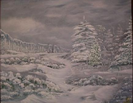 Landscape Painting - Canyon Snow by Pat  Corbett