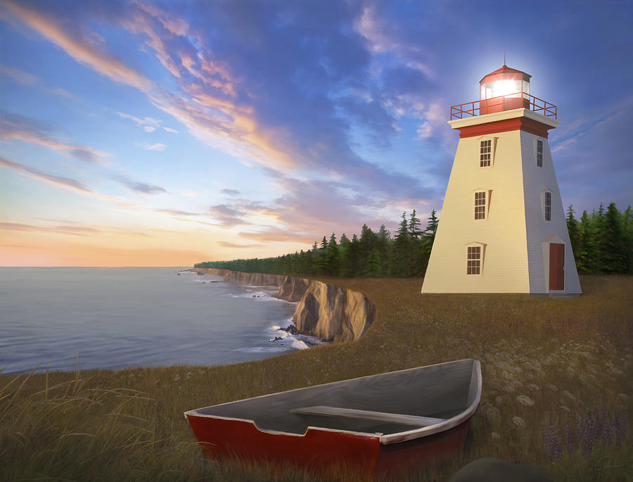 Lighthouse Painting - Cape Bear Light by James Charles