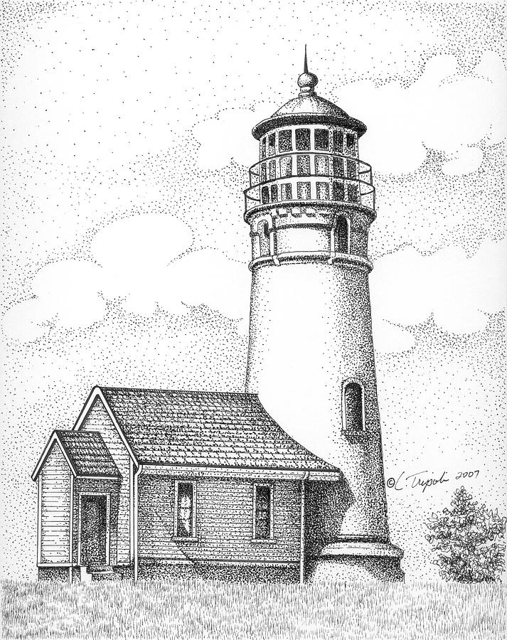 Cape Blanco Lighthouse Drawing by Lawrence Tripoli