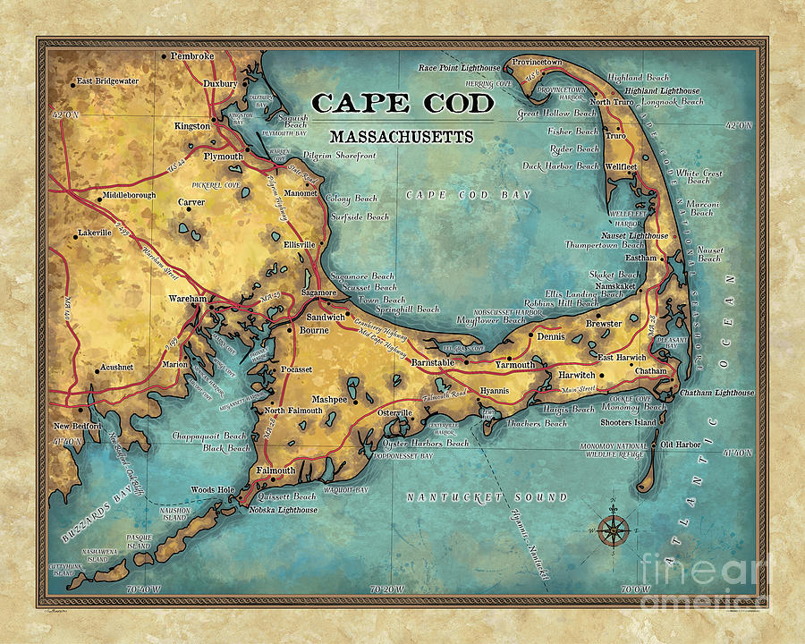 photograph regarding Printable Map of Cape Cod named cape cod artwork, artwork cape cod, cape cod map print, cape cod wall artwork,cape cod,Hand-Painted Ancient map