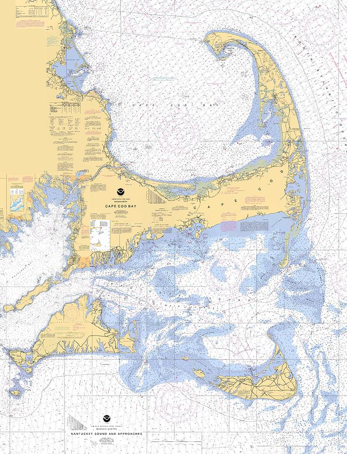 Cape Cod, Martha's Vineyard and Nantucket Nautical Chart by Paul and Janice Russell