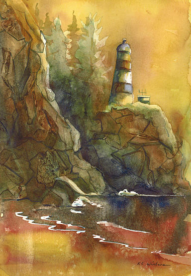 Lighthouse Painting - Cape Disappointment by KC Winters