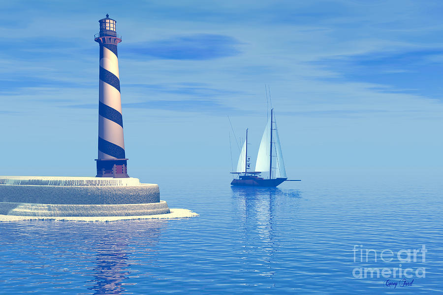 Lighthouse Painting - Cape Hatteras by Corey Ford