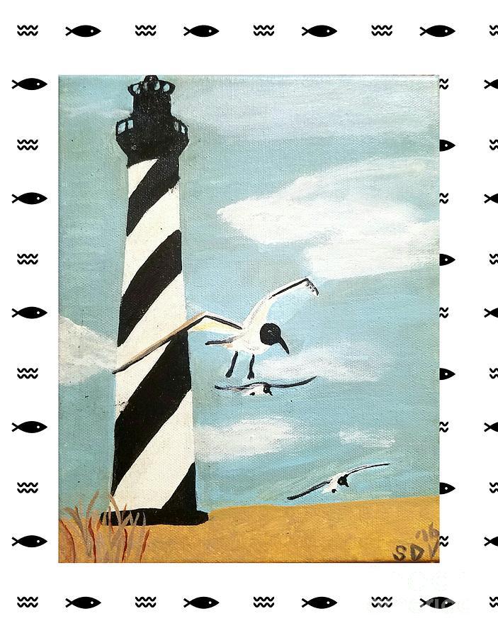 Cape Painting - Cape Hatteras Lighthouse - Fish Border by Scott D Van Osdol