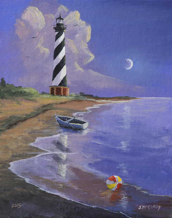 Lighthouse Painting - Cape Hatteras Lighthouse by Jerry McElroy
