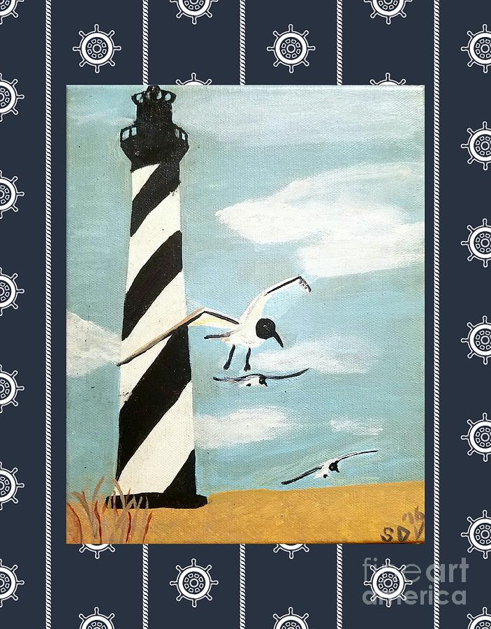 Cape Painting - Cape Hatteras Lighthouse - Ship Wheel Border by Scott D Van Osdol