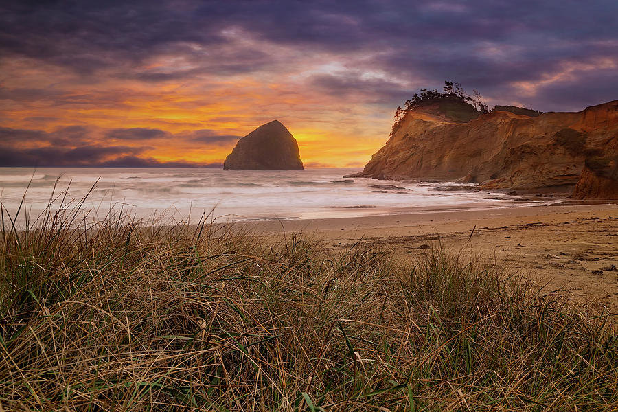 Rock Photograph - Cape Kiwanda in Pacific City Beach at Sunset by David Gn