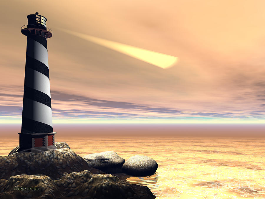 Lighthouse Painting - Cape Lookout by Corey Ford