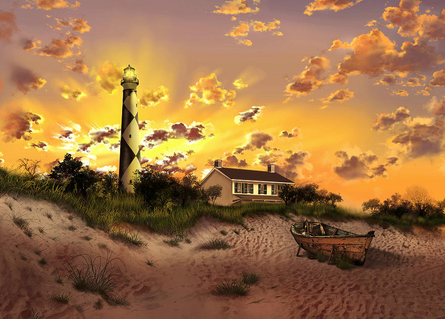 Lighthouse Painting - Cape Lookout Lighthouse 2 by Bekim M