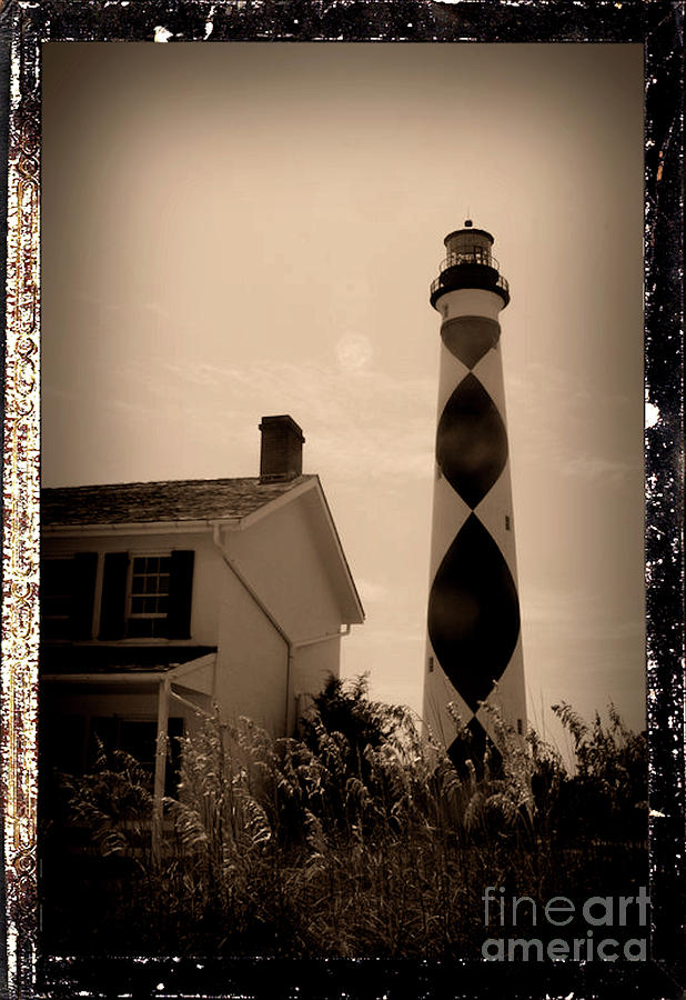 Cape Lookout Lighthouse And Keepers Quarters - Antiqued Series