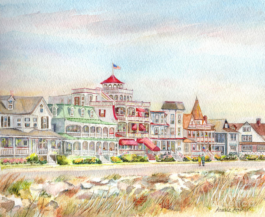 Cape May Painting - Cape May Promenade Cape May New Jersey by Pamela Parsons