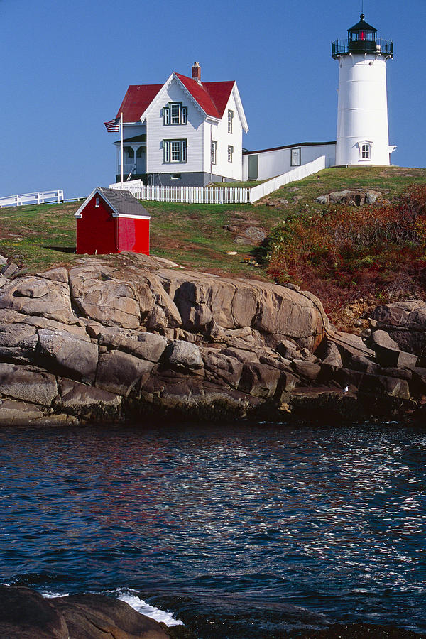 Architecture Photograph - Cape Neddick Lighthouse York Maine by George Oze