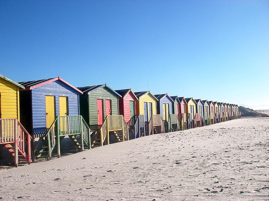 Cape Town Photograph - Cape Town Beachhuts by Linda Russell