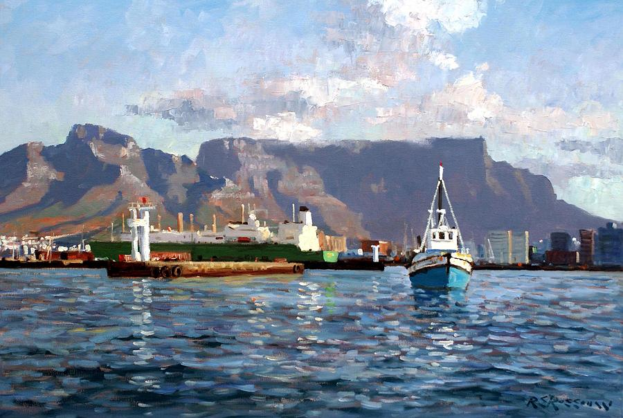 Impressionism Painting - Cape Town Harbor Entrance by Roelof Rossouw