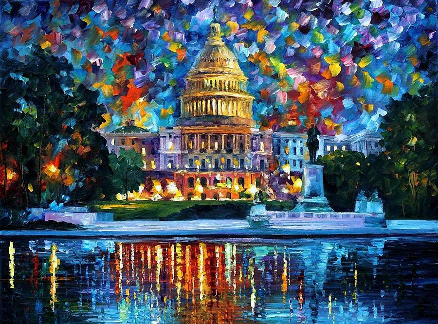 Afremov Painting - Capital At Night - Washington by Leonid Afremov